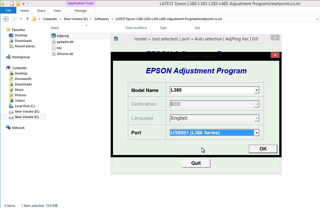 epson l380 photo print software