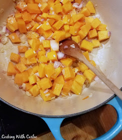 butternut squash and shallots being cooked for risotto