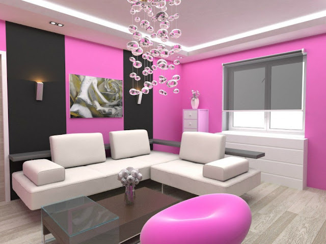 Pink Feminine Wallpaper Designs For Living Room 2016