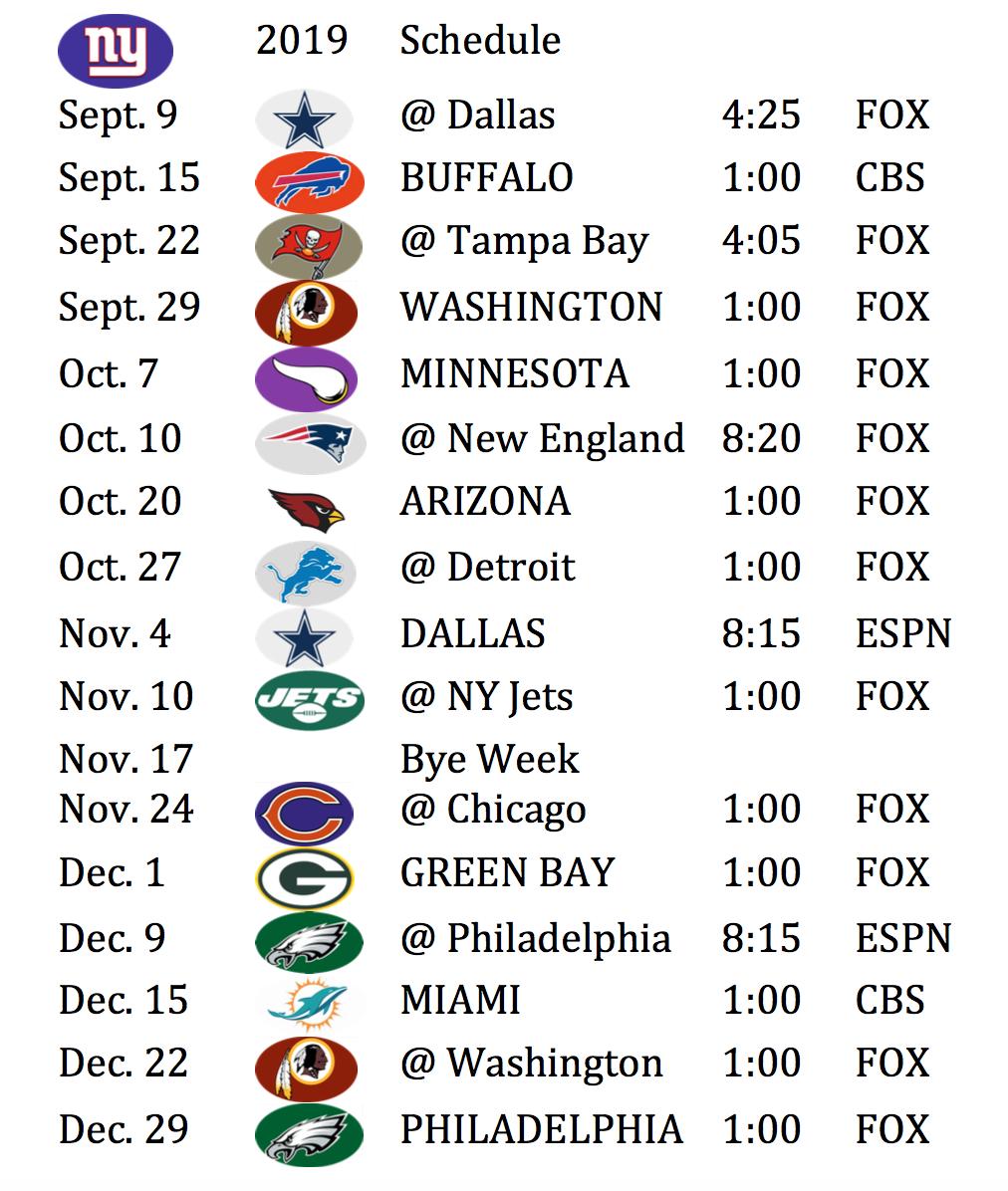 Cohen S Corner Sports Giants Schedule Leaks Open Up Against Dallas