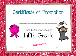 Classroom Certificate of Promotion to Fifth Grade
