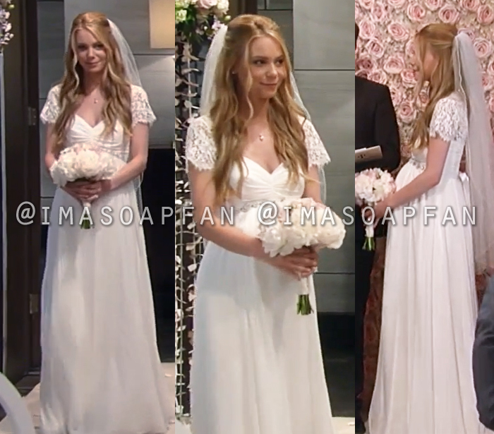 1d1b28f89c2 Nelle Benson's Silk Maternity Wedding Gown with Lace Sleeves - General  Hospital, Season 56, Episode 07/13/18
