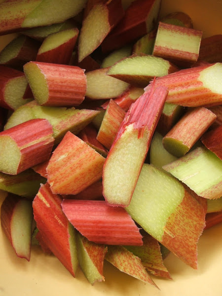 chopped up allotment grown rhubarb