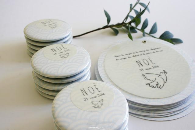 Faire-part rond ballotins cadeaux invités papier japonais fleur de pommier sur mesure fait main birth announcement