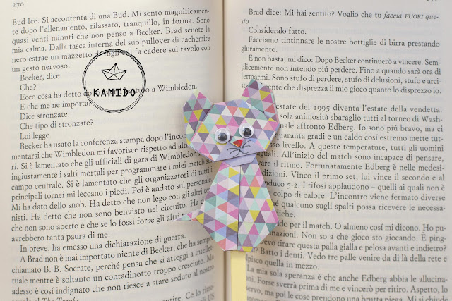 origami and personal jewellery. Origami cat bookmark