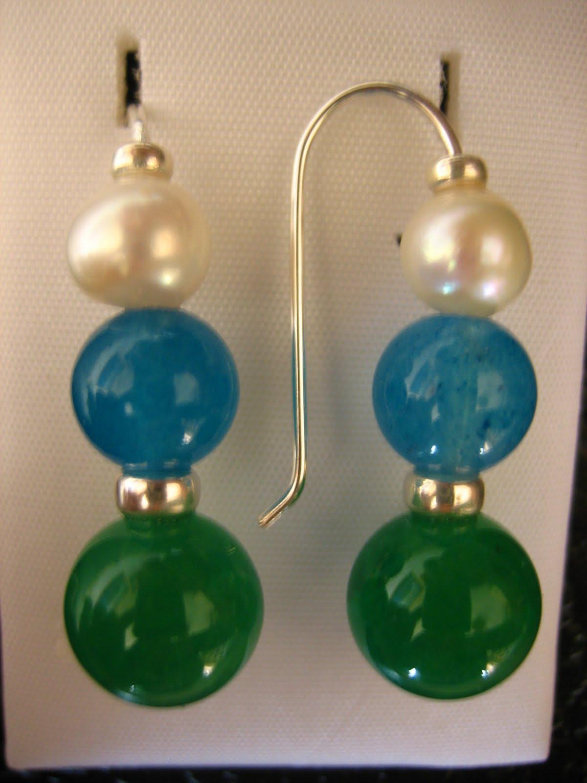 46afa36255f0 La mar de plata y piedras  pendientes ágata verde y azul