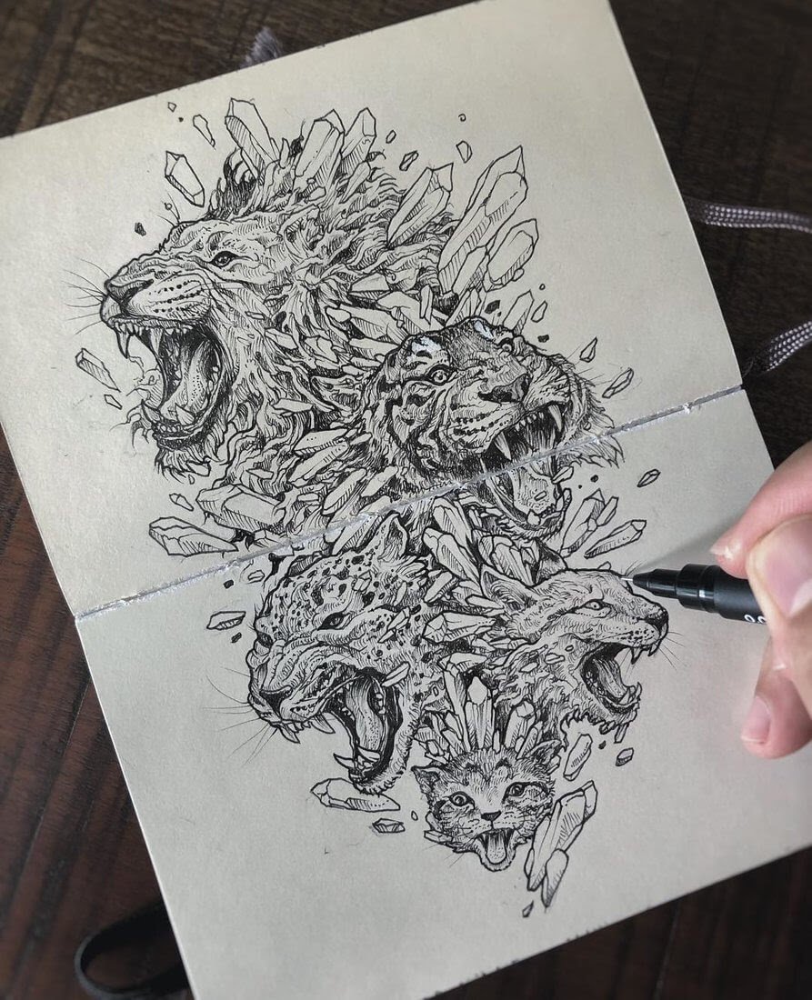 14-Feline-family-Kerby-Rosanes-Free-Hand-Detailing-and-Doodling-www-designstack-co