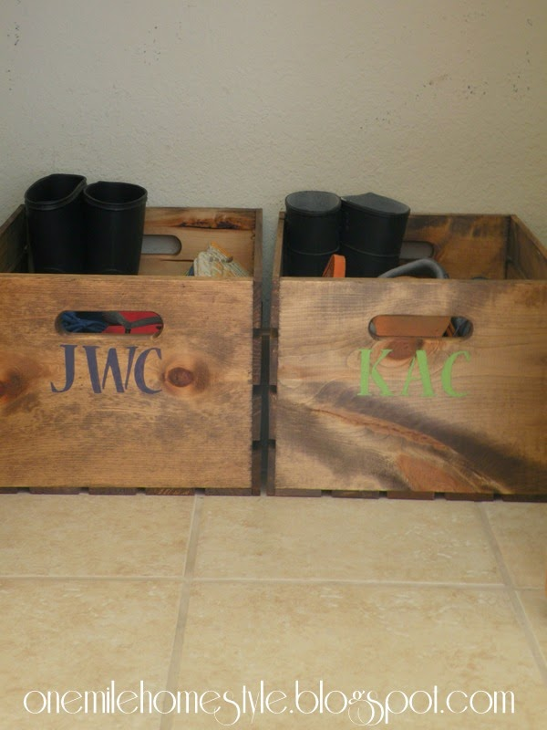 Wooden crate shoe organization - kids shoe organization