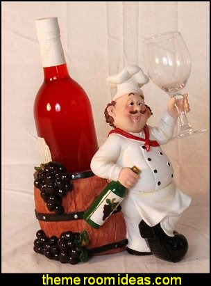 waiter chef wine & Glass bottle holder  fat chef decorations - fat chef bistro decorating ideas - fat chef kitchen decor - Italian fat chef  - French fat chef - Paris Cafe style - waiters - fun kitchen decor - French Country Kitchen decor - Table Art Decor - Kitchen accessories