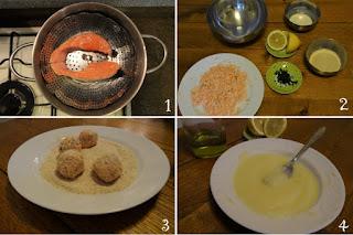 Foto preparazione ricetta crocchette al salmone con crema di patate al limone per bambini