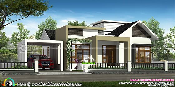 1480 square feet mixed roof modern house plan