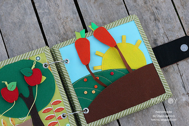 Little quiet book for Dylan, Handmade busy book by TomToy, Carrots garden page