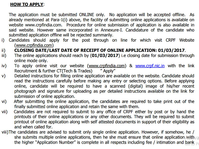 CRPF How to Apply