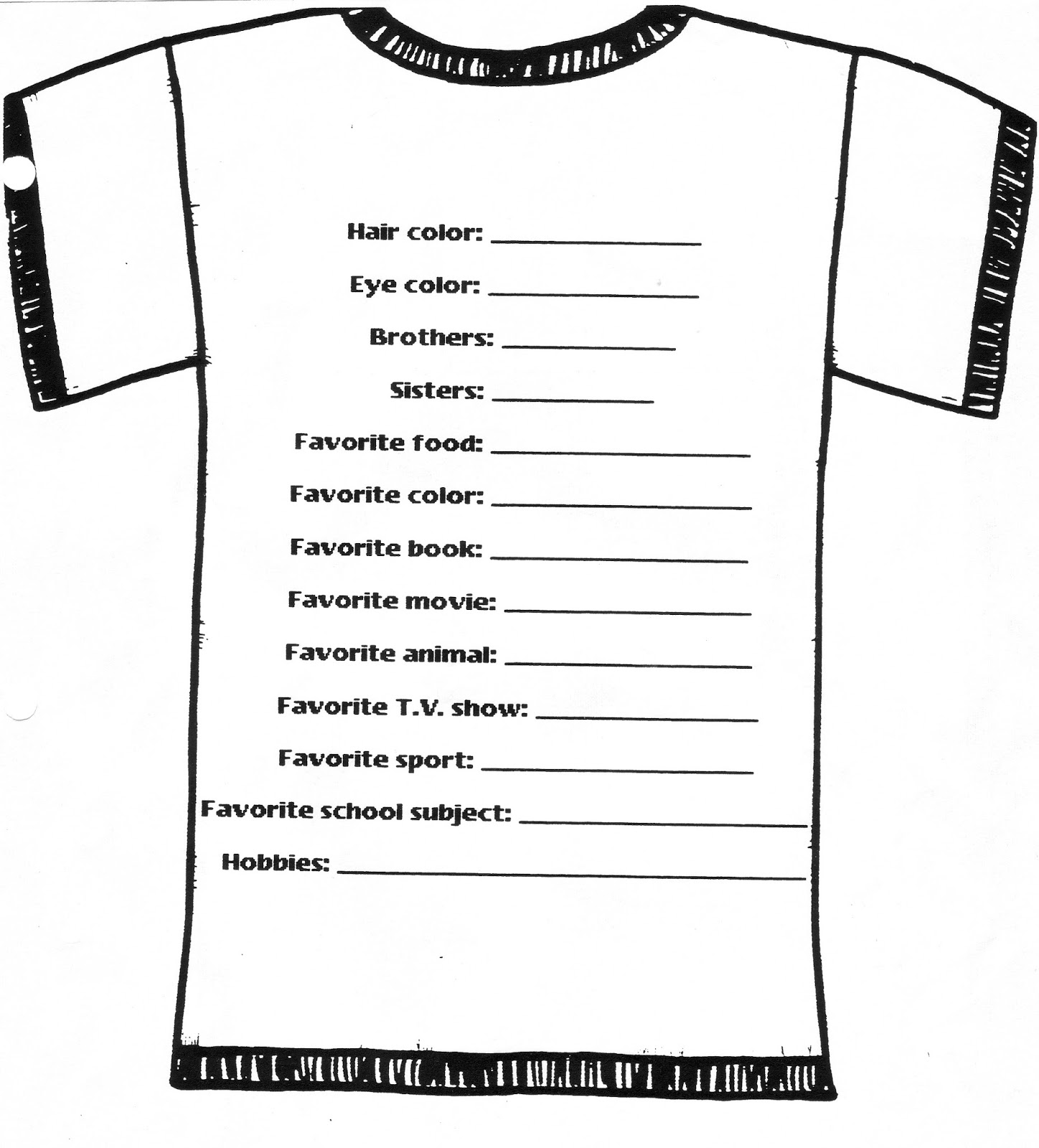 free t shirt order forms template