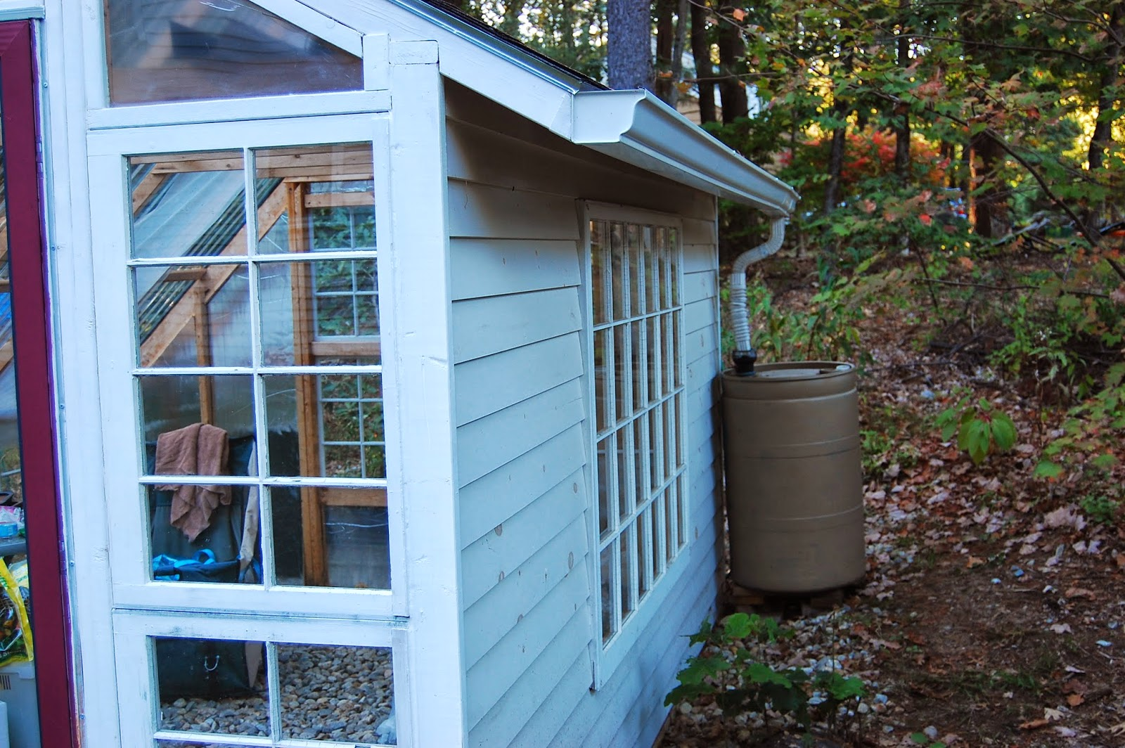 Custom Backyard Greenhouse with Recycled Windows
