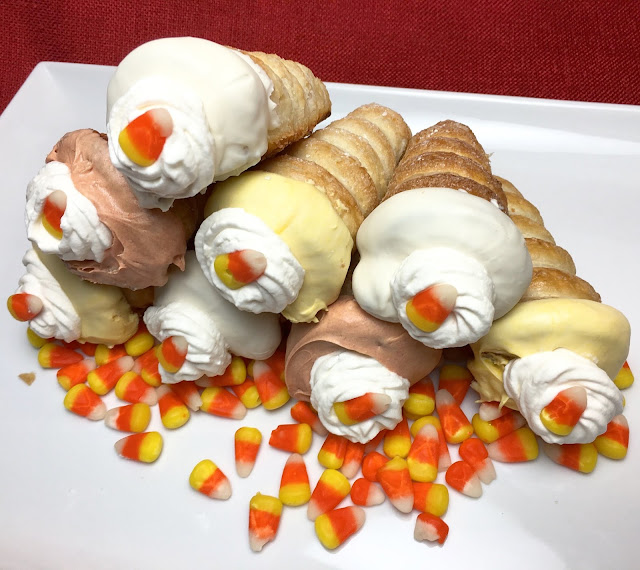Stack of Honey Cream Filled Candy Corn Cream Horns