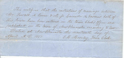1851 Marriage Intention between Sewall N. Pierce & Miss Lucinda A. Vosmus of New Gloucester, Maine