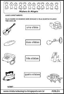 Atividades com sílabas, alfabetização