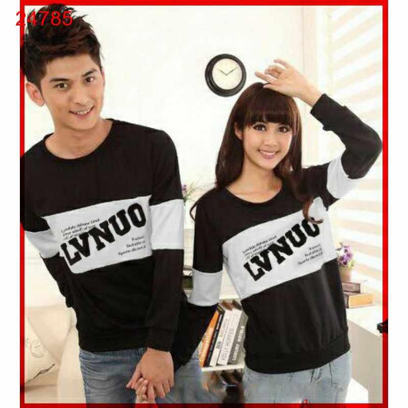 Jual Sweater Couple Sweater LVNUO Neo Black White - 24785