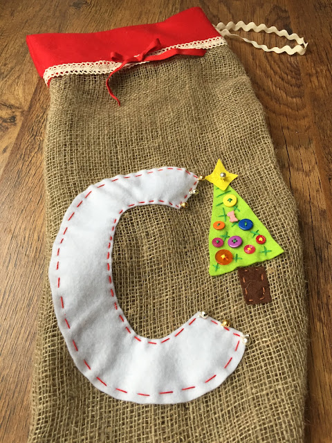The detail on Mrs Bishop's homemade Christmas stocking