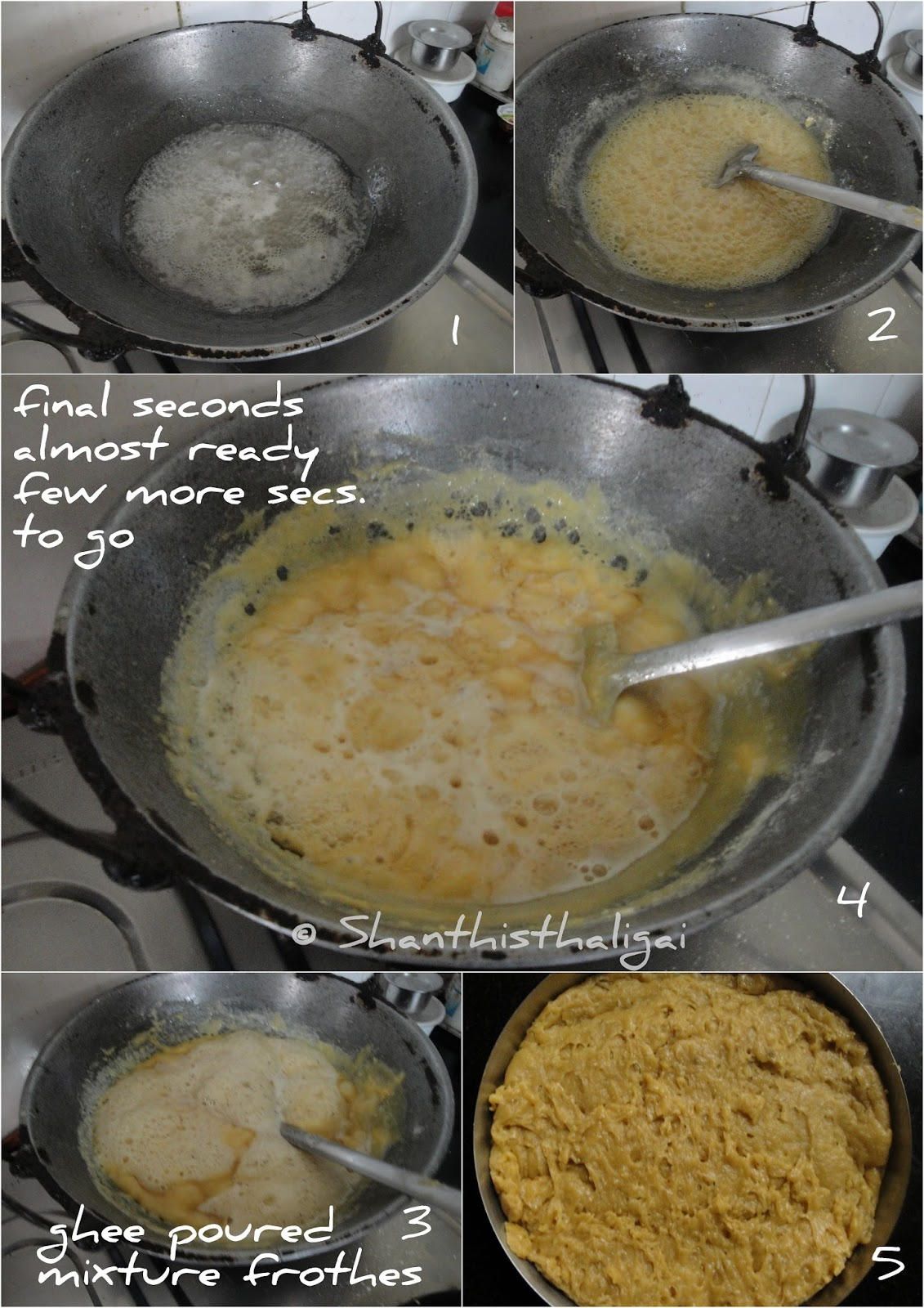 How-to-make-porous-mysore-pak, How-to-make-crunchy-mysore-pak