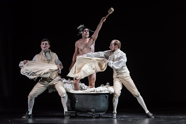 Kieran Rayner as Lord Rokeby with William Thomas and Steven Swindells in British Youth Opera's production of Malcolm Williamson's English Eccentrics. Photo: Clive Barda/ArenaPAL