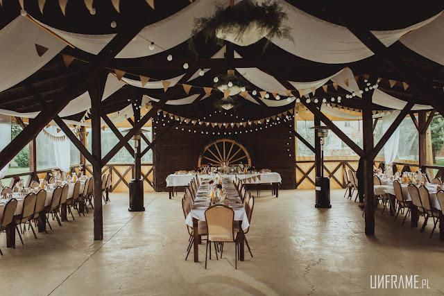 Przystrojona sala weselna.