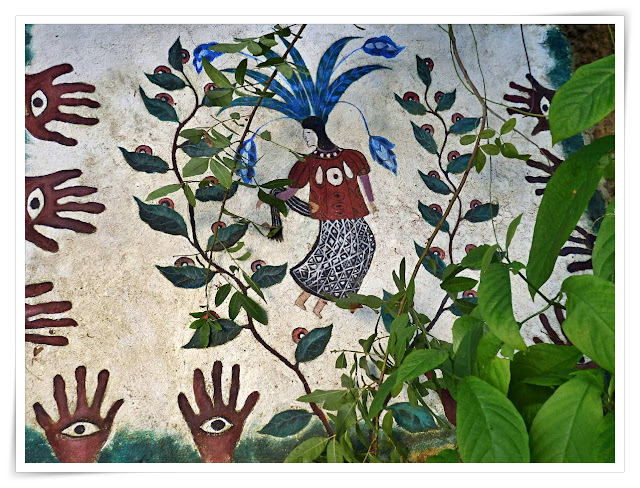The spirit of Colita de Gavilon painting at the Eden Project, Cornwall