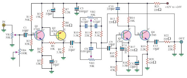 Circuit Diagram Tone Control 4 Transistor