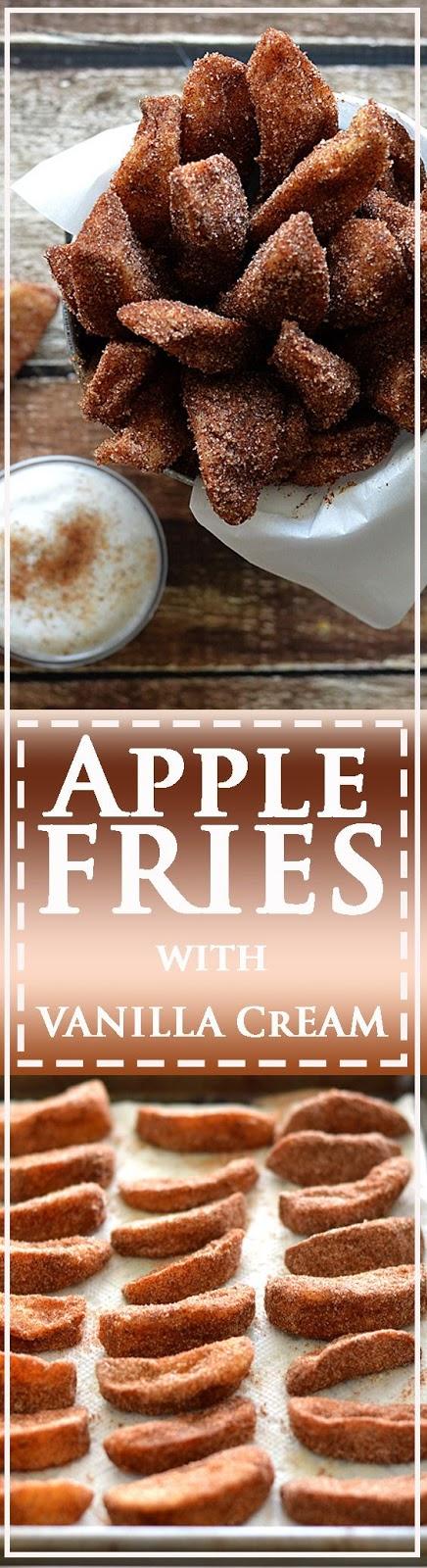 Apple Fries with Vanilla Whipped Cream (Vegan)