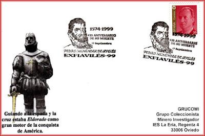 Tarjeta del matasellos de EXFIAVILES 99 dedicado a Pedro Menéndez