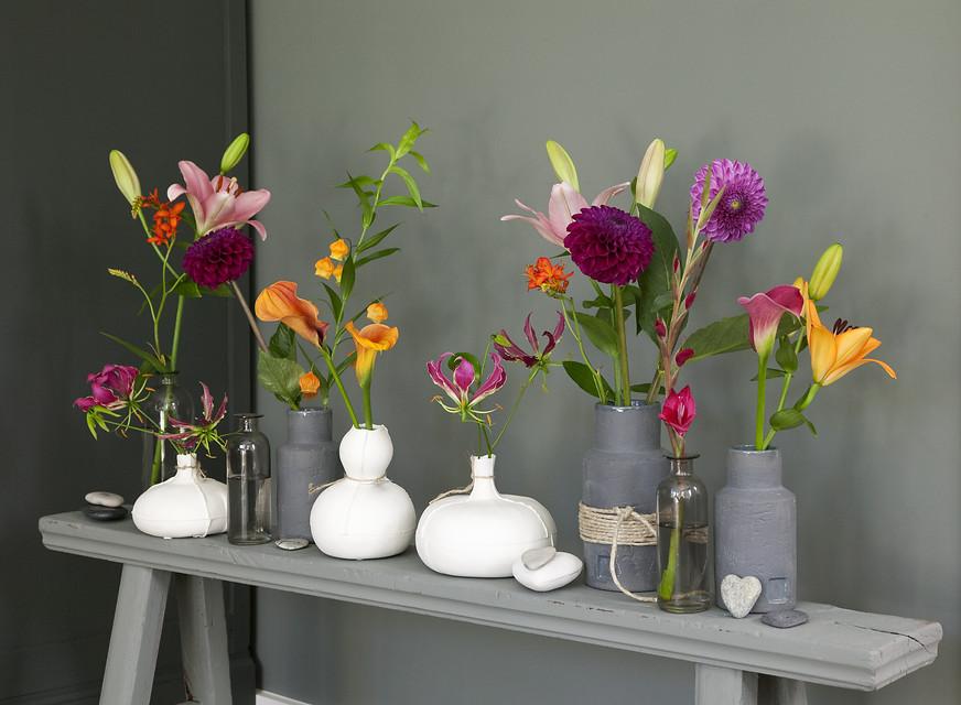 jarrones con flores de bulbos de verano
