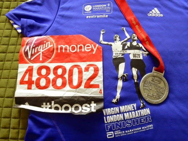 2015 London Marathon finisher shirt medal