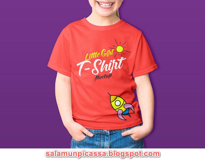 Free Little Girl Kids T Shirt Mockup PSD