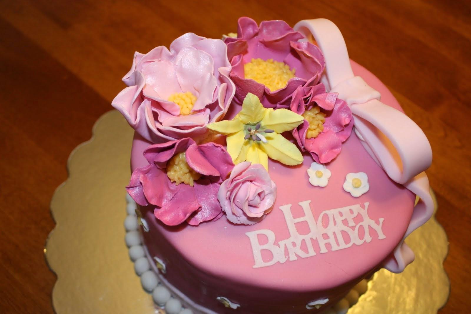 Happy Birthday Flower Cake Bouquet. St Birthday Cakes. Garden ...