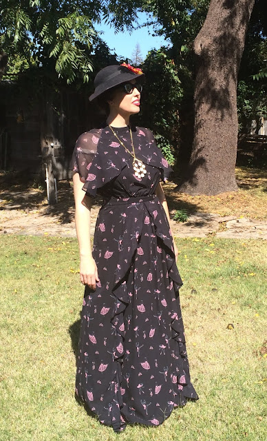 Black With Pink Print Maxi 1930's Style Dress from eShakti on Gail Carriger