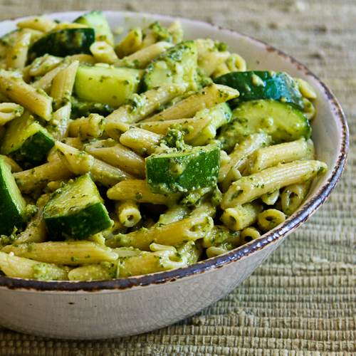 Easy Penne Pasta Recipe with Zucchini and Basil Pesto [from KalynsKitchen.com]