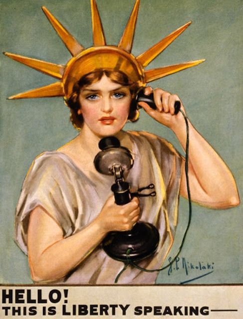 old poster of lady liberty speaking on phone about equality and liberty celebrating 4th of july