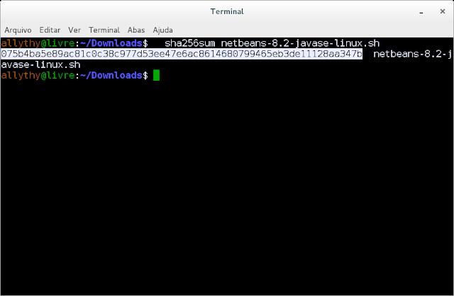 Terminal comparando a hash do NetBeans 8.2