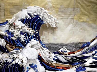 Obra de arte con plástico reciclado