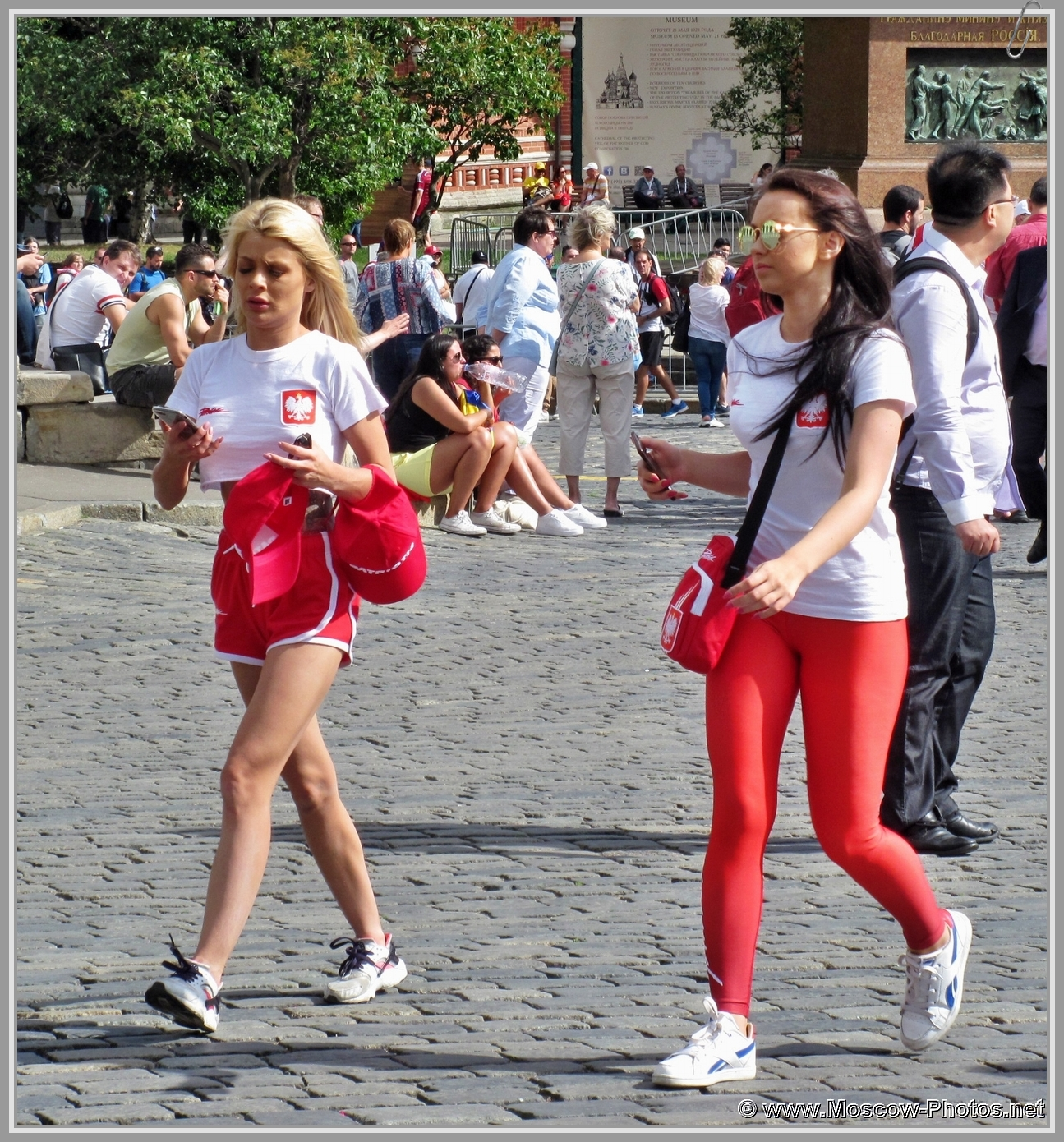 Football girls on Red Square in Moscow during the 2018 FIFA World Cup
