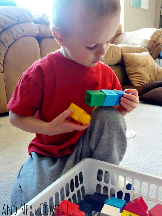 Spelling words using alphabet Mega Bloks from And Next Comes L