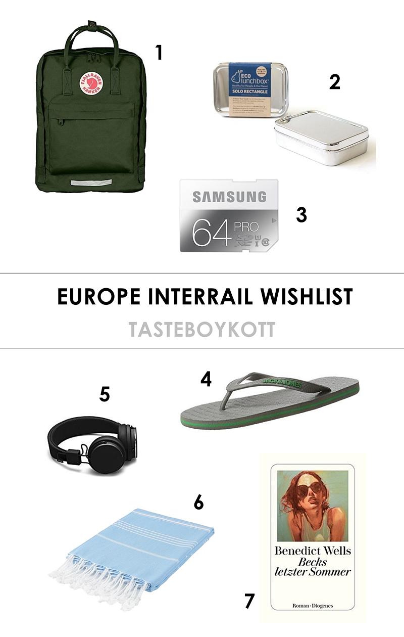 Europe Interrail Travel Wishlist / Essentials // Europa Interrail Zugreise Wunschliste