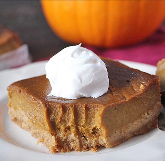 Paleo + Gluten Free Pumpkin Pie Bars