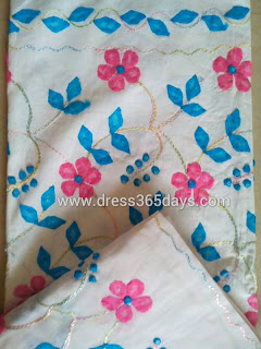 Applique Embroidery in Semi Stitched Salwar+Dupatta