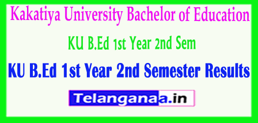 Kakatiya University KU B.Ed 1st Year 2nd Sem 2018 Results
