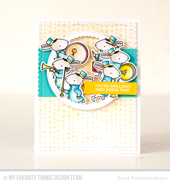 Brilliant Marching Band Card by Anna Kossakovskya featuring the Birdie Brown Strike up the Band stamp set and Die-namics, the Lots of Dots Background stamp, and the Stitched Circle Scallop Frames, and Blueprints 27 Die-namics #mftstamps