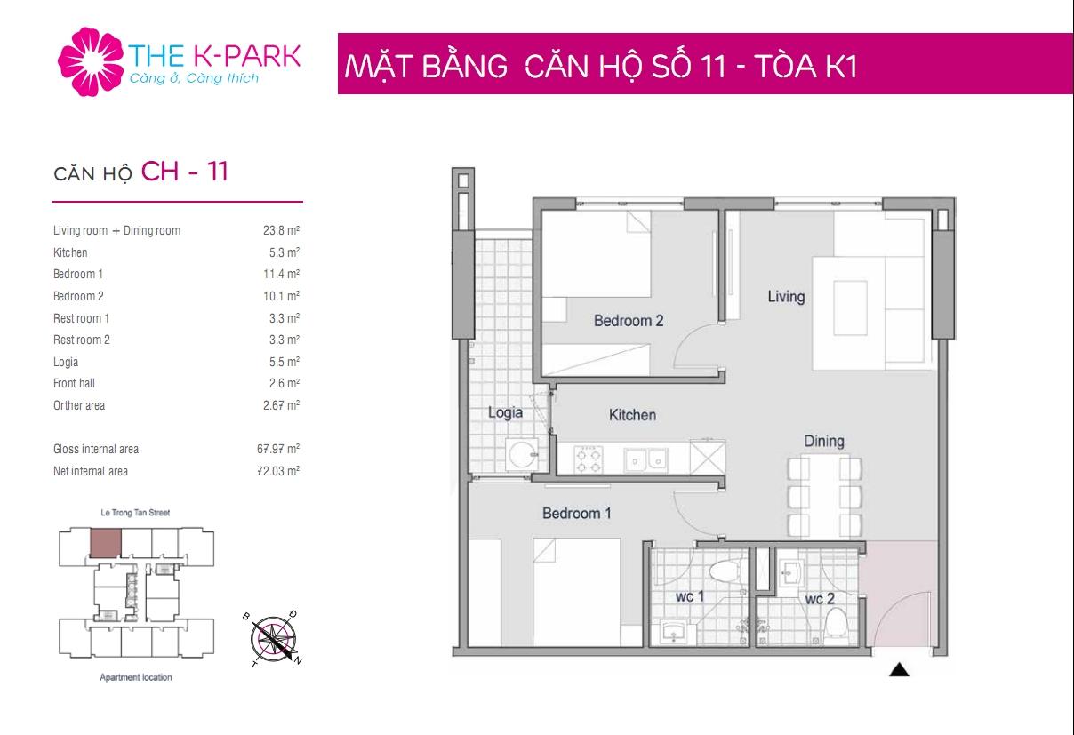 Mặt bằng căn hộ số 11- Tòa K1