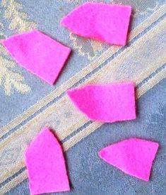 pola sembarang daun dari kain perca - flanel
