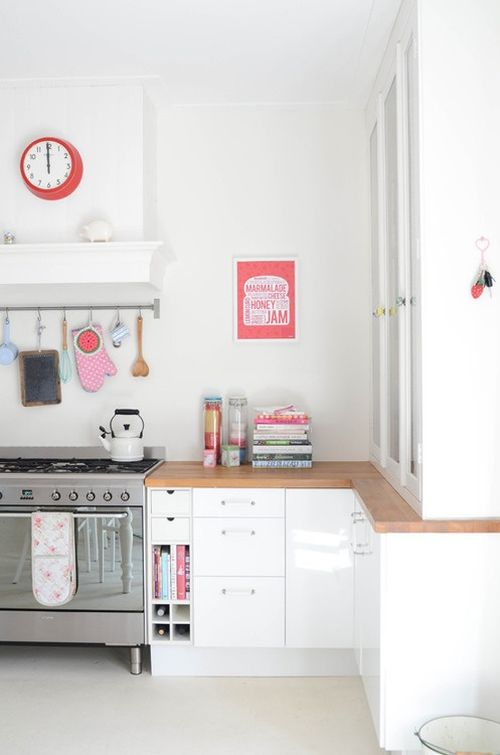 feminine white and pink kitchen